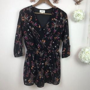Every Black Floral Romper S